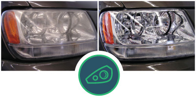 before and after of headlight restoration